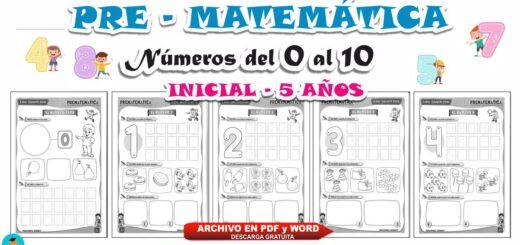 Cuaderno de Matemática trabajamos los números del 1 al 10